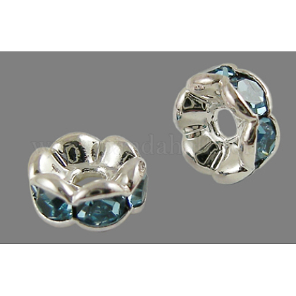 Brass Rhinestone Spacer Beads RB-A014-L6mm-03S-NF-1