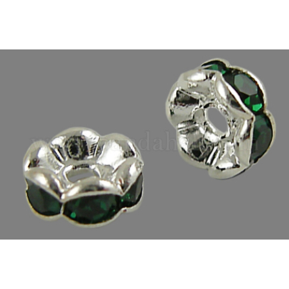 Brass Rhinestone Spacer Beads RB-A014-L6mm-08S-NF-1