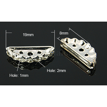 Latón con entrepiezas puente grado b rhinestoneRB-H239-19x8mm-P-1