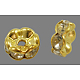 Brass Rhinestone Spacer BeadsRB-A014-L7mm-01G-NF-1