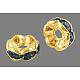 Brass Rhinestone Spacer BeadsRB-A014-L7mm-04G-NF-1