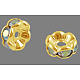 Brass Rhinestone Spacer BeadsRB-A014-L7mm-28G-NF-1