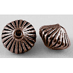Tibetan Style Spacer Beads, Zinc Alloy, Lead Free & Nickel Free & Cadmium Free, Bicone, Red Copper Color, 7.8mm in diameter, 5.5mm thick, hole: 1 mm