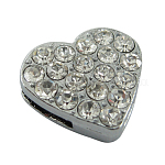 Alloy Rhinestone Slide Charms, for Valentine Gifts, Heart, Platinum, Clear, about 16mm wide, 15mm long, 5mm thick, hole: 1.5mm wide, 9mm long