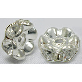 Brass Rhinestone Spacer Beads, Grade A, Rondelle, Silver Color Plated, Clear, Size: about 8mm in diameter, hole:1.5mm