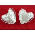 手作り銀箔ガラスビーズ, ハート, 透明, 12x8mm, 穴:1~2mm