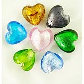 Perles en verre d'argent feuille manuelles, pour faire des cadeaux pour la fête des mères, cœur, couleur mixte, 15x15mm, Trou: 1~2mm