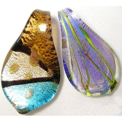 Handmade Silver Foil Glass Large PendantsSLSL-1