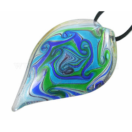 Handmade Silver Foil Glass Big PendantsSLSP086J-1-1