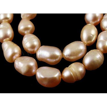 Hebras de perlas de agua dulce cultivadas naturales de grado bSPRB008Y-2-1