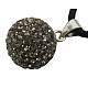 Austrian Crystal Charms, With Sterling Silver Clasps, Round, Black Diamond, about 16mm in diameter, hole: 3.5mm