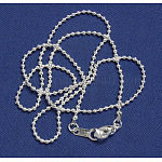 Seed Beads Brass Chain, Silver Color Plated, Chain:1.2mm, 17inches