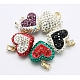 Austrian Crystal Charms, Mother's Day Gifts Making, with Polymer Clay and Sterling Silver Findings, Heart, Mixed Color, about 14mm wide, 20mm long, 8mm thick, hole: 2mm