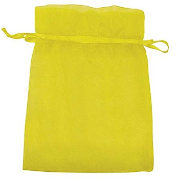 Yellow Organza Bags, Rectangle, Yellow, about 10cm wide, 15cm long