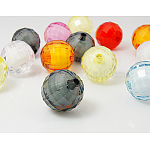 Transparent Acrylic Beads, Bead in Bead Style, Faceted Round, Mixed Color, Size: about 20mm in diameter, hole: 2mm, 110pcs/500g