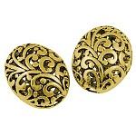 Perles de filligree de style tibétain, sans plomb et sans cadmium et sans nickel, ovale, Or antique, 21x17x13mm, trou: 3 mmnickle sin