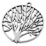 Tibetan Style Zinc Alloy Pendants, Tree of Life Charm, Lead Free and Cadmium Free, Antique Silver, Size: about 43mm long, 38mm wide, 1.5mm thick, hole: 3mm, 160pcs/1000g