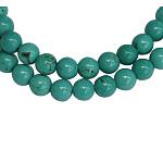 天然石ビーズ, 天然な新疆ターコイズ, ラウンド, 染め, ターコイズ色, サイズ:直径約6mm, 穴:1.2mm, 66個/連, 15.5