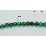 Synthetic Malachite Beads Strands, Dyed, Round, Green, Size: about 4mm in diameter, hole: 1.5mm; about 109pcs/strand, 15.5