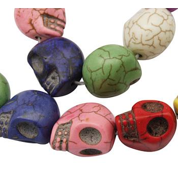 Синтетические шарики Говлит, для Хэллоуина, череп, окрашенные, разноцветные, 18x17 мм, отверстие: 1 мм, около 180 шт / кг