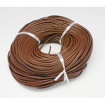 Cordón de cuero de vaca, cable de la joya de cuero, saddle brown, 2mm, 100 m / paquete