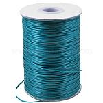 Cordón de poliéster encerado, Cuerda de la perla, cian oscuro, 0.5mm, aproximamente 185 yardas / rodillo