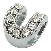 Initial Slide Beads, Alloy Rhinestone Beads, Platinum Color, Letter U, about 9mm wide, 10mm long, 6.5mm thick, hole: 3.5x7mm
