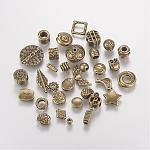 Tibetan Style Alloy Beads, Mixed Shapes, Antique Bronze, 4~22x4~22x2~8mm, Hole: 1~5mm