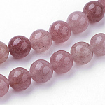 Natural Strawberry Quartz Beads Strands, Round, 10~10.5mm, Hole: 1mm; about 38pcs/strand, 15.1inches(38.5cm)
