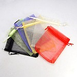 オーガンジーギフトバッグ巾着袋, プレーンスタイル, 巾着付き, 長方形, ミックスカラー, 12x9cm