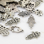 Tibetan Style Alloy Pendants, Hamsa Hand/Hand of Fatima/Hand of Miriam, Antique Silver, 18~57x8.5~35x2~5mm, Hole: 2~4mm