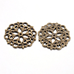 Tibetan Style Filigree Joiners Links, Lead Free & Nickel Freee, Flower, Antique Bronze, 29x1mm, Hole: 1.2mm