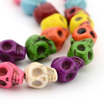 Синтетических нитей бирюзовые бусы, окрашенные, череп, для изготовления ювелирных изделий Хэллоуин, красочный, 10x8x9 мм, отверстие : 1 мм
