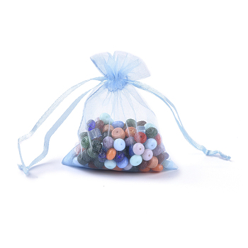 Cyan Organza Gift Bags with Drawstring, Jewelry Pouches, Wedding Party Christmas Favor Gift Bags, Cyan, Size: about 8cm wide, 10cm long