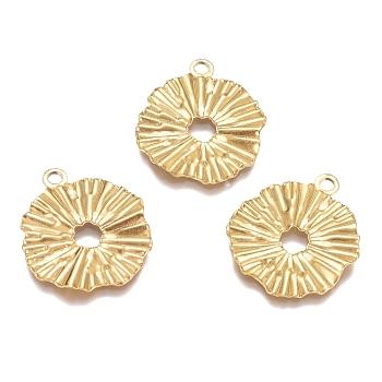 Pendentifs en acier inoxydable texturé 304, fleur, creux, fabrication de bijoux, pour femme, or, 21x18x1mm, Trou: 1.8mm