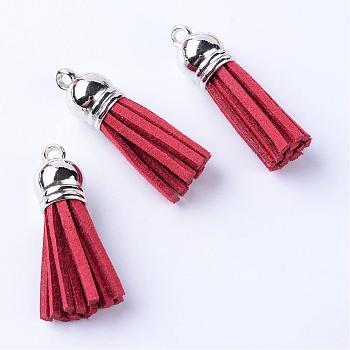 Décorations de pendentif pompon en daim, avec embouts de cordon en plastique ccb, platine, rouge foncé, 35~37x10mm, Trou: 2.5~3mm
