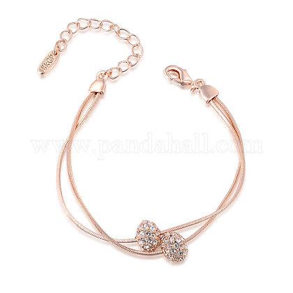 Real rosa chapado en oro de aleación ambiental de moda rhinestone checo pulseras de múltiples hilosBJEW-AA00031-RG-1