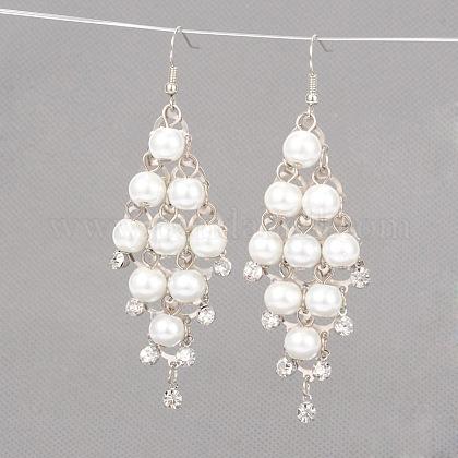 Iron Chandelier Glass Pearl Dangle EarringsX-EJEW-JE01552-01-1