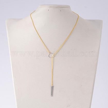 Brass Lariat NecklacesNJEW-JN01049-02-1