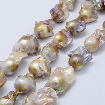 Hebras de perlas keshi de perlas barrocas naturalesPEAR-K004-22-1
