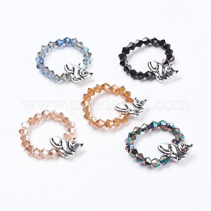 Perlas de vidrio facetado electrochapa anillosRJEW-JR00217-1