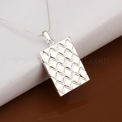Simple Silver Color Plated Brass Rectangle Pendant Unisex Necklaces NJEW-BB12837-1