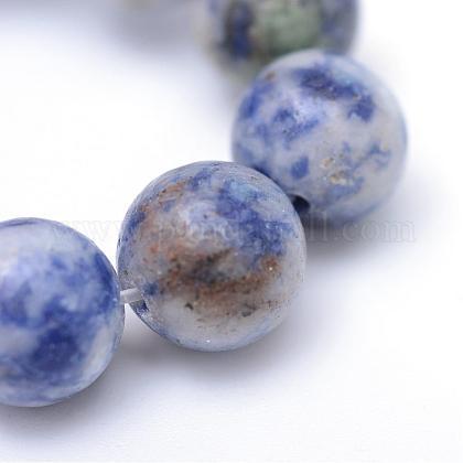 丸染めの天然ブルースポットジャスパービーズ連売りG-R345-6mm-14-1