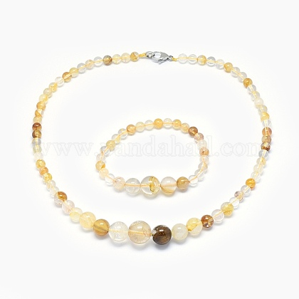 Natural Citrine Graduated Beads Necklaces and Bracelets Jewelry SetsSJEW-L132-05-1