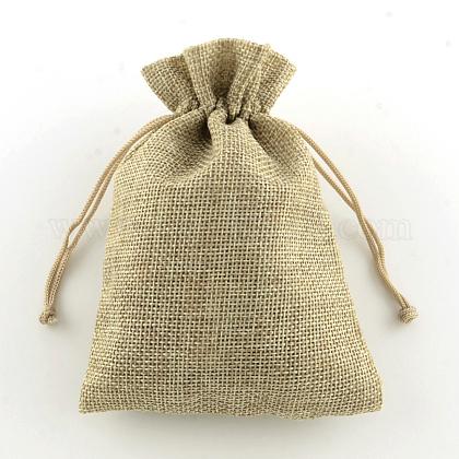 (Same Sku: ABAG-Q050-10x14-01)Polyester Imitation Burlap Packing Pouches Drawstring BagsABAG-R004-14x10cm-05-1