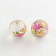 Perles rondes avec image de fleur en verre transparent matGFB-R004-14mm-H17-1