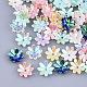 Tapas de abalorios de resina opaca, color de ab chapado, multi-pétalo, flor, color mezclado, 9.5x9.5x2.5mm, agujero: 1 mm
