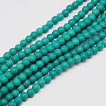 Chapelets de perles en turquoise synthétique, teinte, ronde, dark cyan, 4mm, trou: 1mm; environ 110 pcs/chapelet, 15.6