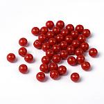 Abalorios acrílicos opacos, redondo, rojo, tamaño: aproximamente 8 mm de diámetro, agujero: 1.5 mm (rango: 1.3~1.8 mm); aproximamente 1700 PC / 500 g