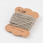 Iron Cable Chains, Textured, Unwelded, Nickel Free, Oval, Platinum Color, 4x3x1mm